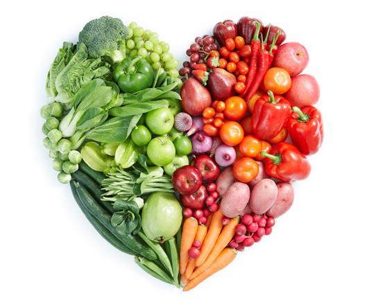 Coeur en fruits et légumes
